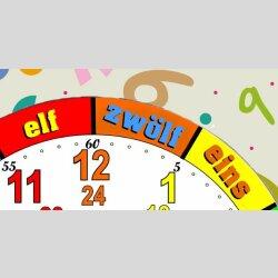 Bunte Kinder-Lernuhr Buchstaben und Zahlen, leise kein ticken, dixtime 3D-0438