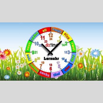 Bunte Kinder-Lernuhr Blumenwiese, leise kein ticken, dixtime 3DS-0432