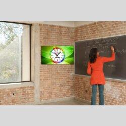 Kinder-Lernuhr schlicht einfarbig grün abstrakte...