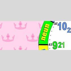 Rosa Krönchen Kinder-Lernuhr, leise kein ticken, dixtime 3DS-0436