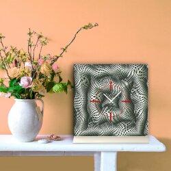 Tischuhr 30cmx30cm inkl. Alu-Ständer -grafisches Design schwarz weiß  geräuschloses Quarzuhrwerk -Kaminuhr-Standuhr TU6037 DIXTIME