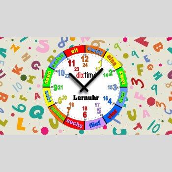 Bunte Kinder-Lernuhr Buchstaben und Zahlen, leise kein ticken, dixtime 3DS-0438