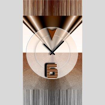 Abstrakt braun Designer Wanduhr modernes Wanduhren Design leise kein ticken dixtime 3DS-0441