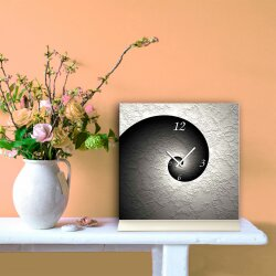 Tischuhr 30cmx30cm inkl. Alu-Ständer -schlichtes zeitloses Design schwarz weiß  geräuschloses Quarzuhrwerk -Wanduhr-Standuhr TU6036 DIXTIME