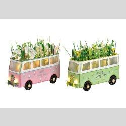 Bus metall mit Blumen