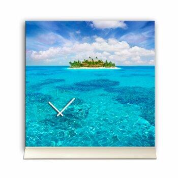 Tischuhr 30cmx30cm inkl. Alu-Ständer -Landschaftsbild Insel Meer  geräuschloses Quarzuhrwerk -Wanduhr-Standuhr TU6025 DIXTIME