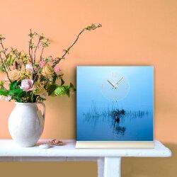 Tischuhr 30cmx30cm inkl. Alu-Ständer- Landschaftsbild See Idylle Wasser geräuschloses Quarzuhrwerk -Wanduhr-Standuhr TU6024 DIXTIME