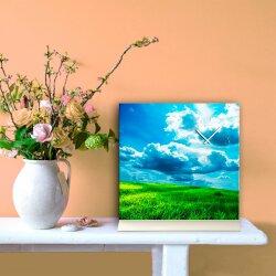 Tischuhr 30cmx30cm inkl. Alu-Ständer -Landschaftsbild Himmel Wolken Wiese  geräuschloses Quarzuhrwerk -Wanduhr-Standuhr TU6023 DIXTIME