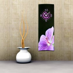 Wanduhr XXL 3D Optik Dixtime lila Orchidee 30x90 cm hochkant leises Uhrwerk GL-012H