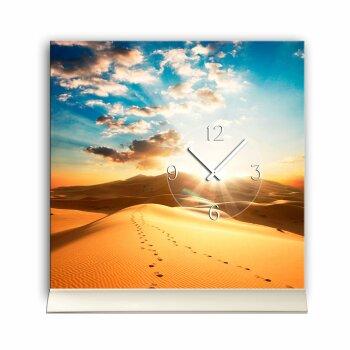 Tischuhr 30cmx30cm inkl. Alu-Ständer- Landschaftsbild Wüste Sonne geräuschloses Quarzuhrwerk -Wanduhr-Standuhr TU6022 DIXTIME