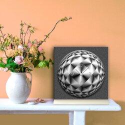 Tischuhr 30cmx30cm inkl. Alu-Ständer -abstraktes Design grau schwarz geräuschloses Quarzuhrwerk -Wanduhr-Standuhr TU6021 DIXTIME
