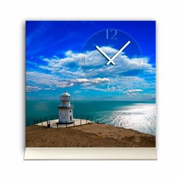 Tischuhr 30cmx30cm inkl. Alu-Ständer- maritimes Design Leuchtturm Meer geräuschloses Quarzuhrwerk -Wanduhr-Standuhr TU6018 DIXTIME