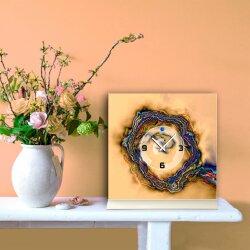 Tischuhr 30cmx30cm inkl. Alu-Ständer -abstraktes Design bunt beige geräuschloses Quarzuhrwerk -Wanduhr-Standuhr TU6010 DIXTIME