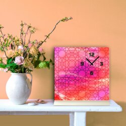 Tischuhr 30cmx30cm inkl. Alu-Ständer -modernes Design pink rot geräuschloses Quarzuhrwerk -Wanduhr-Standuhr TU6009 DIXTIME