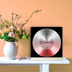 Tischuhr 30cmx30cm inkl. Alu-Ständer -modernes Design rot schwarz  geräuschloses Quarzuhrwerk -Wanduhr-Standuhr TU6008 DIXTIME