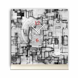Tischuhr 30cmx30cm inkl. Alu-Ständer -modernes Design schwarz weiß grafisch geräuschloses Quarzuhrwerk -Wanduhr-Standuhr TU6007 DIXTIME