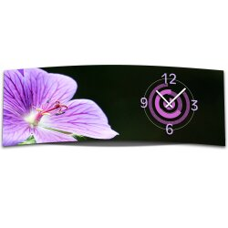 Wanduhr XXL 3D Optik Dixtime lila Orchidee 30x90 cm...
