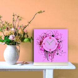 Tischuhr 30cmx30cm inkl. Alu-Ständer -Vintage Style pink rosa  geräuschloses Quarzuhrwerk -Wanduhr-Standuhr TU5051 DIXTIME