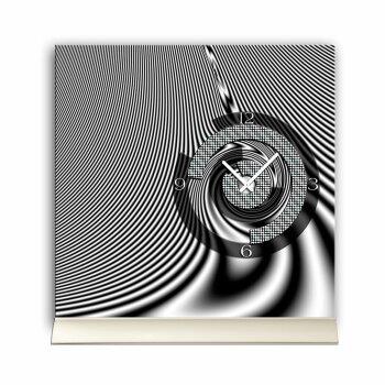 Tischuhr 30cmx30cm inkl. Alu-Ständer -modernes Design schwarz grau weiß geräuschloses Quarzuhrwerk -Wanduhr-Standuhr TU5040 DIXTIME