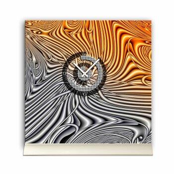 Tischuhr 30cmx30cm inkl. Alu-Ständer- abstraktes Design grau orange geräuschloses Quarzuhrwerk -Wanduhr-Standuhr TU5039 DIXTIME