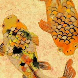 Wanduhr XXL 3D Optik Dixtime asiatisch Fische 30x90 cm hochkant leises Uhrwerk GL-011H
