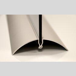 Tischuhr 30cmx30cm inkl. Alu-Ständer -modernes Design silbergrau orange  geräuschloses Quarzuhrwerk -Wanduhr-Standuhr TU5035 DIXTIME