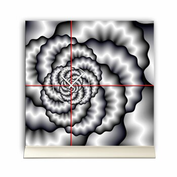 Tischuhr 30cmx30cm inkl. Alu-Ständer -abstraktes Design grau rot geräuschloses Quarzuhrwerk -Wanduhr-Standuhr TU5034 DIXTIME