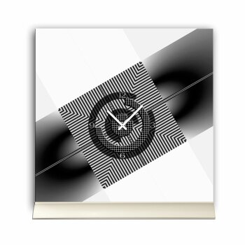 Tischuhr 30cmx30cm inkl. Alu-Ständer- modernes Design schwarz weiß geräuschloses Quarzuhrwerk -Wanduhr-Standuhr TU5029 DIXTIME