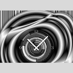 Tischuhr 30cmx30cm inkl. Alu-Ständer- modernes Design grau schwarz  geräuschloses Quarzuhrwerk -Wanduhr-Standuhr TU5028 DIXTIME