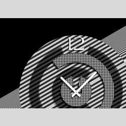 Tischuhr 30cmx30cm inkl. Alu-Ständer -modernes Design schwarz weiß geräuschloses Quarzuhrwerk -Wanduhr-Standuhr TU5027 DIXTIME