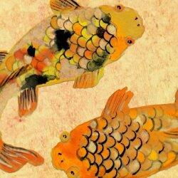 Wanduhr XXL 3D Optik Dixtime asiatisch Fische 30x90 cm leises Uhrwerk GL-011