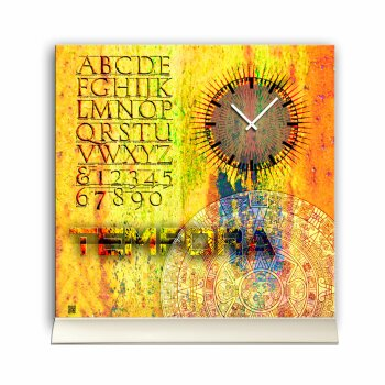 Tischuhr 30cmx30cm inkl. Alu-Ständer - Vintage-Look -gelb - geräuschloses Quarzuhrwerk -Wanduhr - Standuhr TU5020 DIXTIME