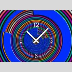 Tischuhr 30cmx30cm inkl. Alu-Ständer - modernes Design bunt geräuschloses Quarzuhrwerk - Wanduhr - Standuhr TU5019  DIXTIME
