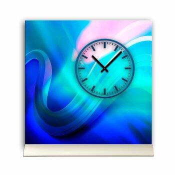 Tischuhr 30cmx30cm inkl. Alu-Ständer -moderne Design  blau türkis geräuschloses Quarzuhrwerk -Wanduhr-Standuhr TU3415 DIXTIME