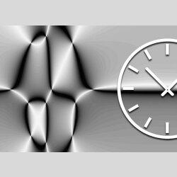 Tischuhr 30cmx30cm inkl. Alu-Ständer -abstraktes Design  silbergrau geräuschloses Quarzuhrwerk -Wanduhr-Standuhr TU3170 DIXTIME