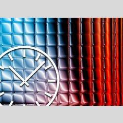 Tischuhr 30cmx30cm inkl. Alu-Ständer -abstraktes Design  blau rot geräuschloses Quarzuhrwerk -Wanduhr-Standuhr TU3169 DIXTIME