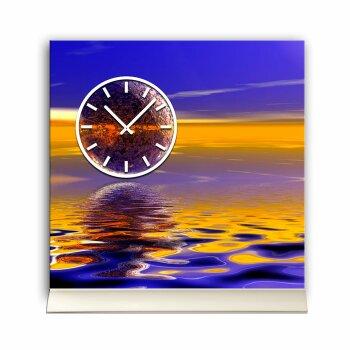 Tischuhr 30cmx30cm inkl. Alu-Ständer -abstraktes Design  Wasser Spiegelung blau orange geräuschloses Quarzuhrwerk  -Wanduhr-Standuhr TU3168 DIXTIME