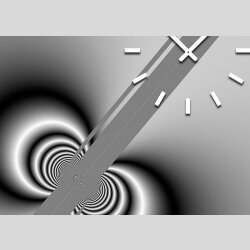Tischuhr 30cmx30cm inkl. Alu-Ständer -abstraktes Design  schwarz grau geräuschloses Quarzuhrwerk  -Wanduhr-Standuhr TU3164 DIXTIME