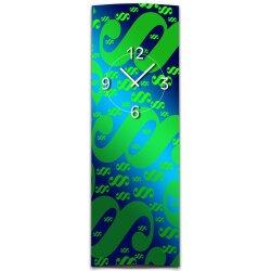 Wanduhr XXL 3D Optik Dixtime gruen blau Paragraph 30x90 cm hochkant leises Uhrwerk GL-010H