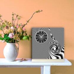 Tischuhr 30cmx30cm inkl. Alu-Ständer - modernes Design grau schwarz geräuschloses Quarzuhrwerk -Wanduhr-Standuhr TU3159 DIXTIME