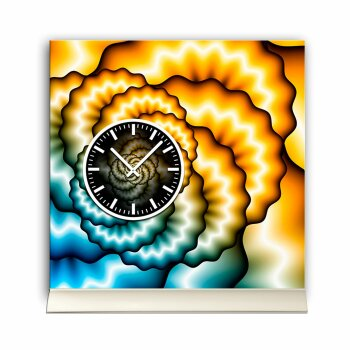 Tischuhr 30cmx30cm inkl. Alu-Ständer -abstraktes Design blau gelb geräuschloses Quarzuhrwerk  -Wanduhr-Standuhr TU3157 DIXTIME