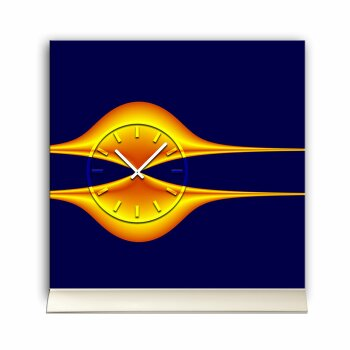 Tischuhr 30cmx30cm inkl. Alu-Ständer -edles Design blau orange geräuschloses Quarzuhrwerk  -Kaminuhr-Standuhr TU3156 DIXTIME