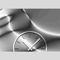 Tischuhr 30cmx30cm inkl. Alu-Ständer -edles Design silber grau geräuschloses Quarzuhrwerk  -Kaminuhr-Standuhr TU3155 DIXTIME