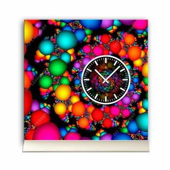 Tischuhr 30cmx30cm inkl. Alu-Ständer -abstraktes Design bunt geräuschloses Quarzuhrwerk -Kaminuhr-Standuhr TU3097 DIXTIME