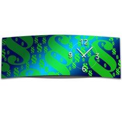 Wanduhr XXL 3D Optik Dixtime gruen blau Paragraph 30x90...