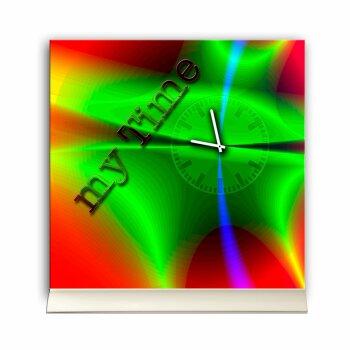 Tischuhr 30cmx30cm inkl. Alu-Ständer -abstraktes Design grün rot geräuschloses Quarzuhrwerk -Kaminuhr-Standuhr TU3096 DIXTIME