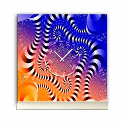 Tischuhr 30cmx30cm inkl. Alu-Ständer -abstraktes Design Space blau orange geräuschloses Quarzuhrwerk -Kaminuhr-Standuhr TU3093 DIXTIME