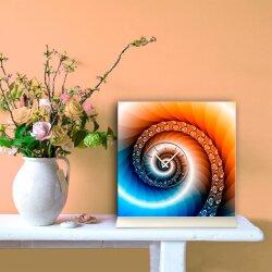 Tischuhr 30cmx30cm inkl. Alu-Ständer -edles Design Schnecke Fraktal blau orange geräuschloses Quarzuhrwerk  - Kaminuhr-Standuhr TU3092 DIXTIME