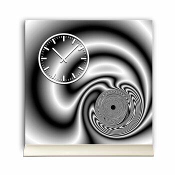 Tischuhr 30cmx30cm inkl. Alu-Ständer -edles Design schwarz grau geräuschloses Quarzuhrwerk -Kaminuhr-Standuhr TU3090 DIXTIME