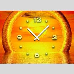 Tischuhr 30cmx30cm inkl. Alu-Ständer -Sonnenuntergang orange geräuschloses Quarzuhrwerk -Kaminuhr-Standuhr TU3088 DIXTIME